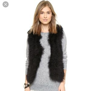 NWT Alice & Olivia Maribou Feather Vest